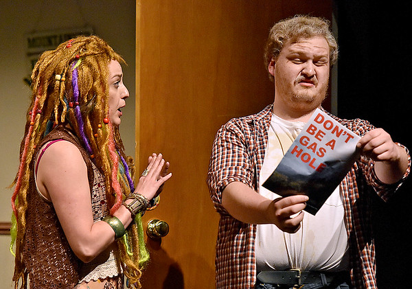 (Brad Davis/The Register-Herald) Jim is visited by activist Willow Birdsong, a.k.a. Karen, played by Tiffany Jenkins during a scene from FRACK! Saturday night at The Raleigh.