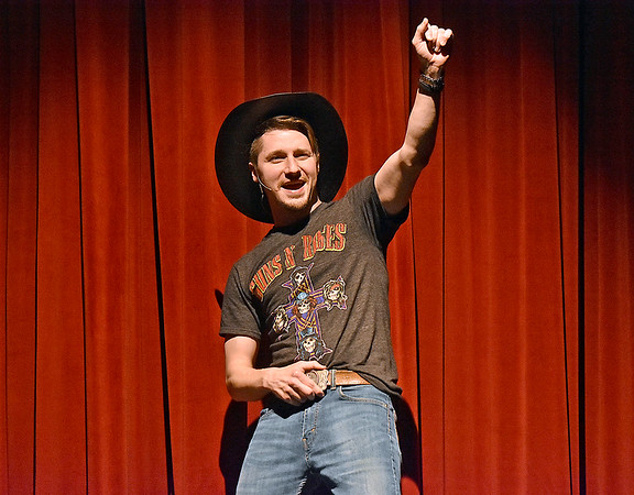 (Brad Davis/The Register-Herald) Country music star Eulis Montgomery, played by Korey Tedder, introduces you to the show during FRACK! Saturday night at The Raleigh Playhouse & Theatre.