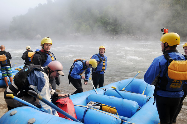 Rafters and kayakers enjoy the 2017 opening day of Gauley Season Friday.  (Chris Jackson/The Register-Herald)