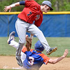 (Brad Davis/The Register-Herald) Independence shortstop Fisher Horton reaches behind him to tag out Princeton's Michael Hudgins as he attempts to steal during the Jeff Treadway Memorial Wooden Bat Tournament Saturday afternoon in Coal City.