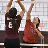 (Brad Davis/The Register-Herald) PikeView's Olivia Boggess goes for a spike as Woodrow Wilson's (JV) Sierra Conley tries to block it during the Shirley Brown Invitational Volleyball Tournament Saturday afternoon at Woodrow Wilson High School.