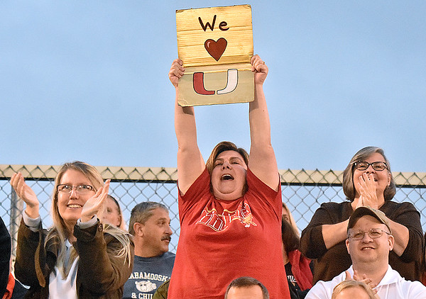 (Brad Davis/The Register-Herald) A proud University High School (Morgantown) family member cheers on the Hawks during Class AAA Girls State Soccer Tournament action Friday night the YMCA Paul Cline Memorial Sports Complex.