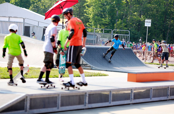Scouts skate on one of the skateparks at the Adventure Zone during the 2017 National Jamboree at The Summit Bechtel Reserve near Mt. Hope. (Chris Jackson/The Register-Herald)
