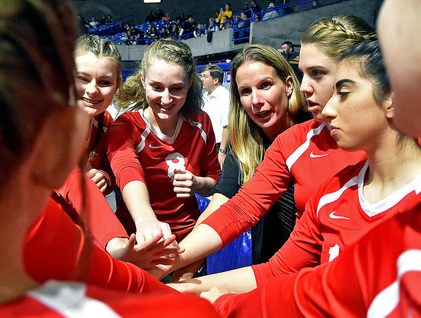 (Brad Davis/The Register-Herald) Greater Beckley Christian coach Tracie Fisher tells her players to have fun prior to their afternoon match against Moorefield during State Volleyball Tournament action Friday  at the Charleston Civic Center.