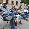 (Brad Davis/The Register-Herald) Sam Hall, left, and Trish Thompson chill out and enjoy blues music from Johnny Rawls during the Blues block Party at the Beckley Underground Saturday evening.