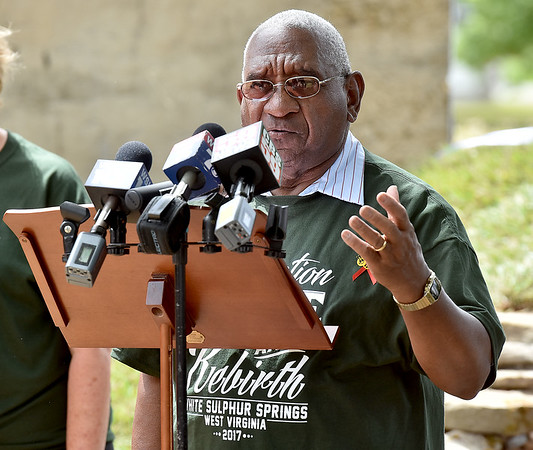 (Brad Davis/The Register-Herald) White Sulphur Springs Mayor Lloyd Haynes speaks during the Old Mill Park ceremony Friday.