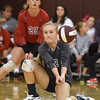 (Brad Davis/The Register-Herald) Independence's Riley Adkins drops down to return the ball against Cabell Midland during the Shirley Brown Invitational Volleyball Tournament Saturday afternoon at Woodrow Wilson High School.