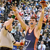 (Brad Davis/The Register-Herald) Independence wrestler Jacob Hart reacts to fans and family in the stands after winning his fourth career state championship, this one in the 182-pound weight class, against Point Pleasant's Grant Stafford at the 70th Annual WVSSAC State Wrestling Tournament Saturday night at the Big Sandy Arena in Huntington.