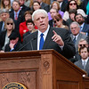 Governor Jim Justice speaks after taking the oath of office from Chief Justice Allen H. Loughry II  as the 36th Governor of the State of West Virginia at the Capitol in Charleston on Monday. (Chris Jackson/The Register-Herald)