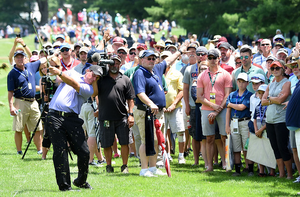 Phil Mickelson hits his second shot on the 9th hole during the second round of The Greenbrier Classic.<br /> (Rick Barbero/The Register-Herald)