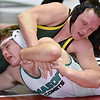 (Brad Davis/The Register-Herald) Greenbrier East's Ethan Asbury takes on Mason's (Ohio) Andrew Hauer in a 195-pound weight class matchup during the West Virginia Army National Guard Duals Saturday afternoon at the Beckley-Raleigh County Convention Center. East's Asbury would win the match.