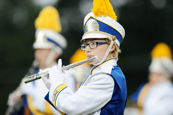 A member of Shays Spring's marching band plays the National Anthem prior to their football game against Nicholas County Friday in Shady Spring.  (Chris Jackson/The Register-Herald)