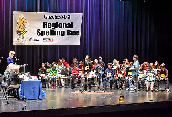 (Brad Davis/The Register-Herald) The scene on stage during this year's Gazette-Mail Regional Spelling Bee, which featured 39 spellers in all Saturday afternoon at Capital High School in Charleston.
