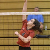 (Brad Davis/The Register-Herald) PikeView's Hope Craft spikes the ball during a volleyball match against Nicholas County at Liberty High School October 11.