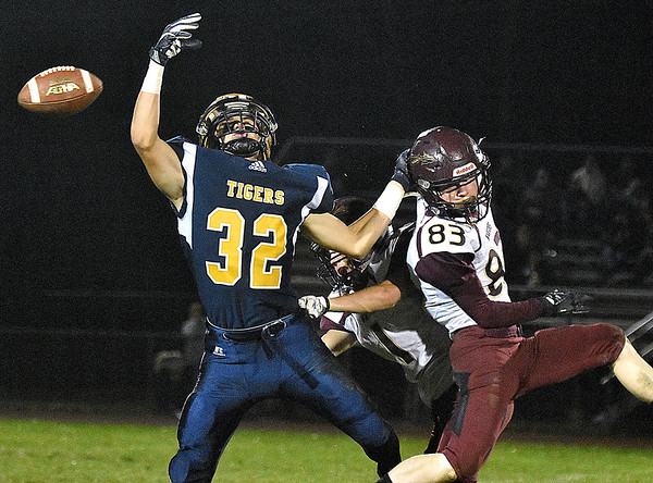 (Brad Davis/The Register-Herald) A deep pass just misses Shady Spring receiver Jadon Hershberger as he's defended by Pocahontas County's Brody Buzzard Friday night in Shady Spring.