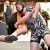 (Brad Davis/The Register-Herald) Shady Spring's Bryce Browning takes on Richwood's Patrick Myers in a 195-pound weight class matchup during the Raider Rumble Saturday afternoon in Glen Daniel. Shady's Browning would pin Myers to win the match.