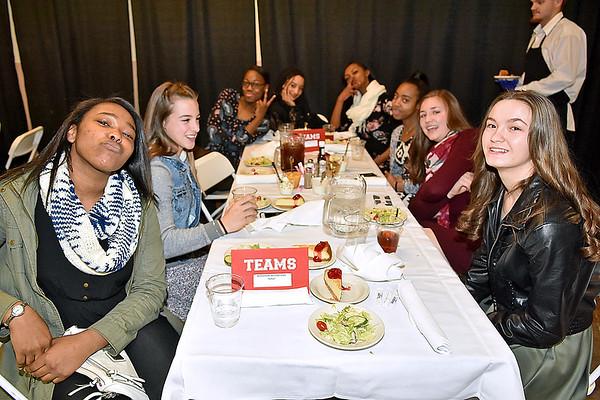 (Brad Davis/The Register-Herald) The Woodrow Wilson girls team proudly mugs for the camera during the Big Atlantic Classic Tip-Off Banquet Sunday afternoon at the Beckley-Raleigh County Convention Center.