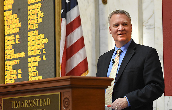 House Speaker Tim Armstead, R-Kanawha, speaks during the legislative session Wednesday afternoon at the State Capitol in Charleston.<br /> (Rick Barbero/The Registr-Herald)