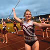 Woodrow Wilson color guard performing at Van Meter Stadium in Beckley Friday night during game against Greenbrier East<br /> (Rick Barbero/The Register-Herald)