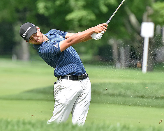 (Brad Davis/The Register-Herald) Xander Schauffele shoots from the fairway on #11 during third round Greenbrier Classic action Saturday afternoon in White Sulphur Springs.