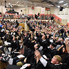 (Brad Davis/The Register-Herald) The caps fly at the conclusion Summers County High School's 2017 commencement ceremony Friday evening in Hinton.