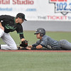 (Brad Davis/The Register-Herald) Marshall shortstop Will Ray is just late with the tag as Florida International's Irving Lopez steals second in a loss to the Thundering Herd Friday evening at Linda K. Epling Stadium.