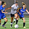 (Brad Davis/The Register-Herald) Shady Spring's Brooke Scarbro is harrassed by Princeton defenders Allyson Belcher, left, and Kaya Houghland as she tries to create some offense Thursday night at the YMCA Paul Cline Memorial Sports Complex.