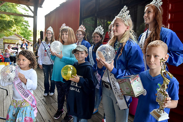 (Brad Davis/The Register-Herald) Winners from Kids Classic Hamster Races line up for photos prior to the Dazzling Dog Show Sunday afternoon at Youth Museum.