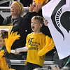(Brad Davis/The Register-Herald) A young Greenbrier East fan makes some noise for the Spartans during Class AAA Girls State Soccer Tournament action Friday night the YMCA Paul Cline Memorial Sports Complex.