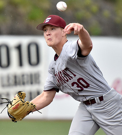 (Brad Davis/The Register-Herald) Fairmont State starting pitcher Michael Stout delivers during the Fighting Falcons' Mountain East Tournament 12-6 win over Concord Thursday evening at Linda K. Epling Stadium.