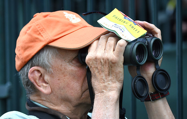 Ted Armbrectt, of Charleston, viewing golfer from the 8th hole during the second round of The Greenbrier Classic.<br /> (Rick Barbero/The Register-Herald)