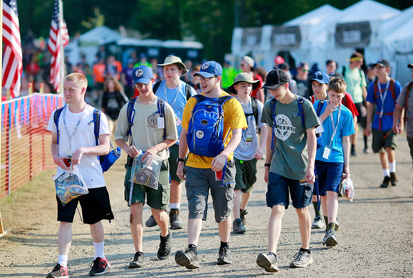 Scouts make their way around the Adventure Zone during the 2017 National Jamboree at The Summit Bechtel Reserve near Mt. Hope. (Chris Jackson/The Register-Herald)