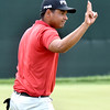 (Brad Davis/The Register-Herald) Sebastian Munoz acknowledges the crowd after finishing up his round during Greenbrier Classic action Thurdsay afternoon in White Sulphur Springs.