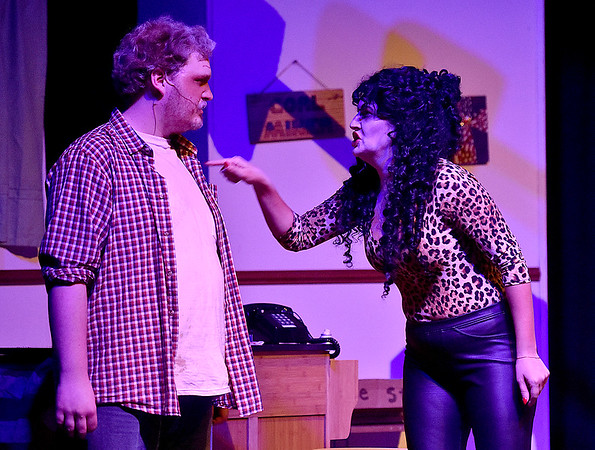 "(Brad Davis/The Register-Herald) Jim gets a ""visit"" from his ex-wife Brea Anne, played by Sarah Osborne, during a scene from FRACK! Saturday night at The Raleigh."