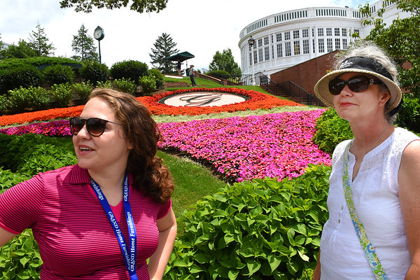 Eden Mays, of Cincinnati, Ohio, left and her mother Carrie Adkins, of Huntington, view the scenery near the first tee box during the third round of The Greenbrier Classic.<br /> (Rick Barbero/The Register-Herald)