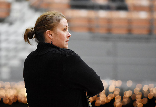 WVU Tech's head coach Jenna Everhart watches her side during their game against Ohio Christian Tuesday in Beckley. (Chris Jackson/The Register-Herald)