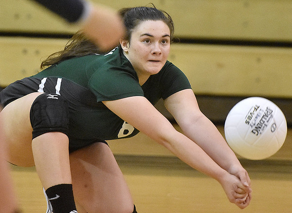(Brad Davis/The Register-Herald) Fayetteville's Cassidy Roles during a volleyball match at Liberty High School October 11.