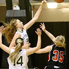 (Brad Davis/The Register-Herald) Wyoming East's Emily Saunders blocks a shot against St. Albans in the Big Atlantic Classic at the Beckley-Raleigh County Convention Center February 4.