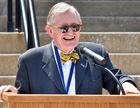 (Brad Davis/The Register-Herald) WVU President E. Gordon Gee speaks during a brief ceremony marking the first day of classes for Tech on the Beckley campus Wednesday afternoon.