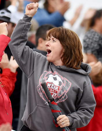 A Weird fan reacts to a goal during their semi-final AA-A boys soccer match against Robert C Byrd during the West Virginia State Soccer Tournament in Beckley on Friday. (Chris Jackson/The Register-Herald)