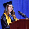 (Brad Davis/The Register-Herald) Nicholas County Summa Cum Laude speaker Lindsay Comer during the school's 103rd Commencement Ceremony Sunday afternoon at the Summersville Arena