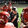 Liberty Raiders head coach Mark workman speaks with his team during game against Independence.<br /> (Rick Barbero/The Register-Herald)