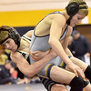 (Brad Davis/The Register-Herald) Shady Spring's Matthew Sweeney takes on Nicholas County's Levi Brake in a 106-pound weight class matchup Saturday afternoon at Shady Spring High School. Nicholas County's Brake would win the match.