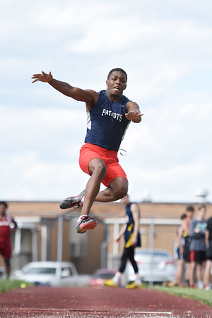 Independence's Marcus Guy competes in the long jump during the Coalfield Conference Track meet Tuesday in Coal City. (Chris Jackson/The Register-Herald)