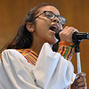 (Brad Davis/The Register-Herald) Young choir member Mariel Macias sings during Central Baptist Church's Black History Month celebration Sunday afternoon.