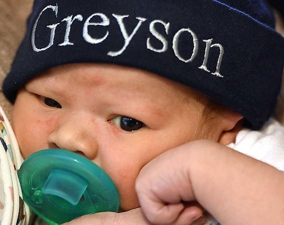 John and Erica Jones newly born son Greyson Xavier Jones.<br /> (Rick Barbero/The Register-Herald)