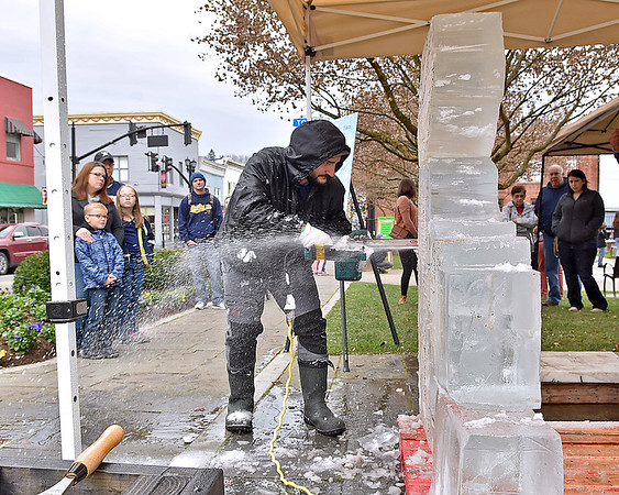 (Brad Davis/The Register-Herald) Curious residents gather around to watch as ice sculptor Steven Halliday uses a saw, amongst other tools, to craft frozen blocks into a masterpiece during the Lewisburg Holiday Festival Saturday afternoon.