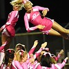 Independence cheerleaders perform a stunt during game againt Liberty Friday night at Liberty High School.<br /> (Rick Barbero/The Register-Herald)