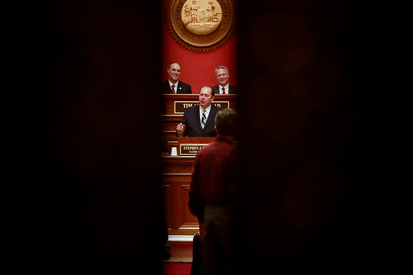 Governor Earl Ray Tomblin gives his farewell address in front of both the members of the West Virginia House and Senate at the House Chambers Wednesday at the Capitol in Charleston. (Chris Jackson/The Register-Herald)