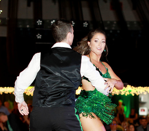 Stewart Cornett  and Morgan Wall perform during the 6th annual United Way of Southern West Virginia's Dancing With the Stars at the Beckley-Raleigh County Convention Center in Beckley on Friday. Cornett and Walls won both Judges Choice and Peoples Choice Awards during the event. (Chris Jackson/The Register-Herald)